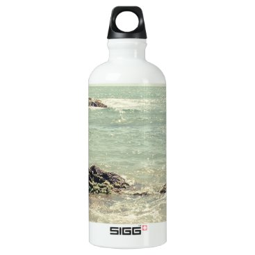Beach Themed Mint Green Ocean Pastel Beach Photography Water Bottle