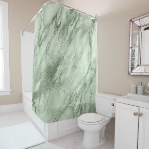 Mint Green Olive Salvia Marble Abstract Stone Lux Shower Curtain