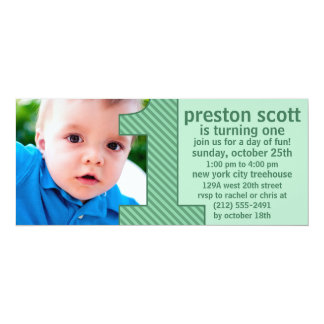 """Mint Green One Is Fun Photo First Birthday Party 4"""" X 9.25"""" Invitation Card"""