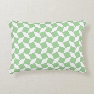 Mint Green Op Art Pattern Accent Pillow