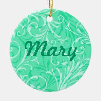 Mint Green Ornamental Name Ornament