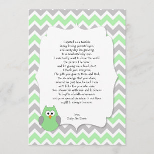 mint green owl baby shower thank you notes w poem