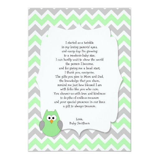 Mint Green Owl Baby shower thank you notes w poem Card ...