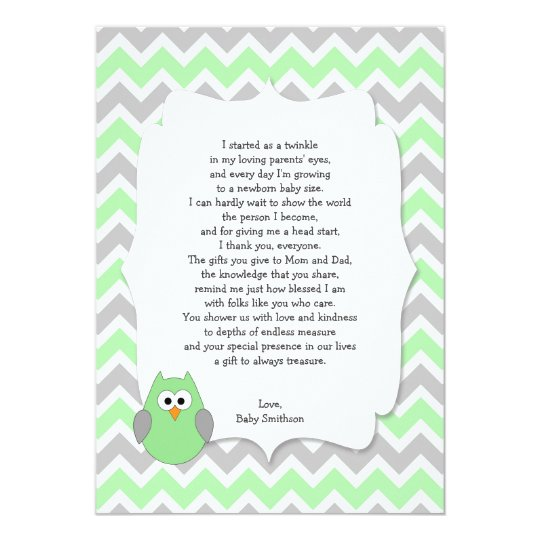 Mint Green Owl Baby Shower Thank You Notes W Poem Card