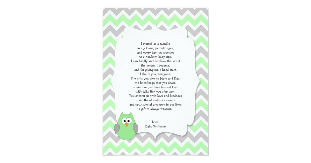 mint green owl baby shower thank you notes w poem card zazzle