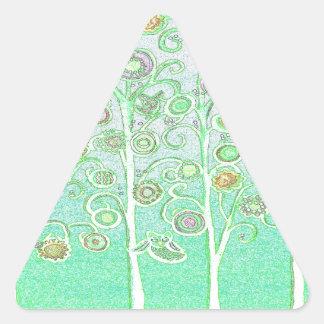 Mint Green Owls Triangle Sticker
