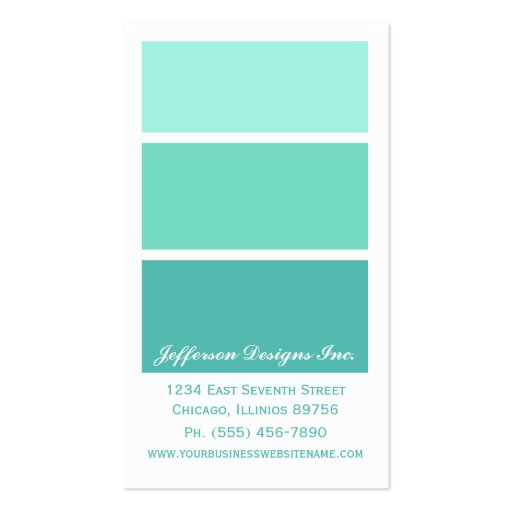 Mint Green Paint Chips Business Cards | Zazzle