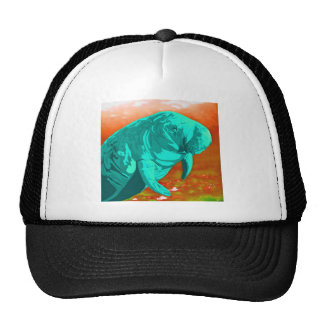 Mint green painted Manatee art Trucker Hat