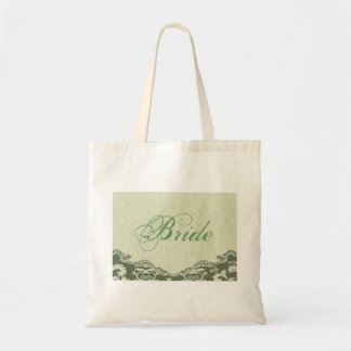 mint green paisley western country bride tote bag