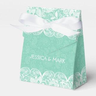 Mint Green Paisley & White Lace Bridal Gift Box Party Favor Box