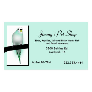 Mint Green Parakeet Pet Store Business Card