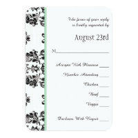 Mint Green Parisian Eiffel Tower RSVP Wedding Card