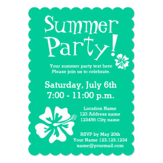 """Mint green party invitations with floral design 5"""" x 7"""" invitation card"""