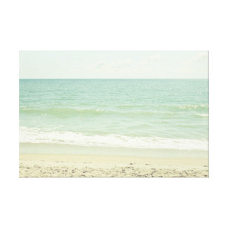 Mint Green Pastel Beach Photography Stretched Canvas Print