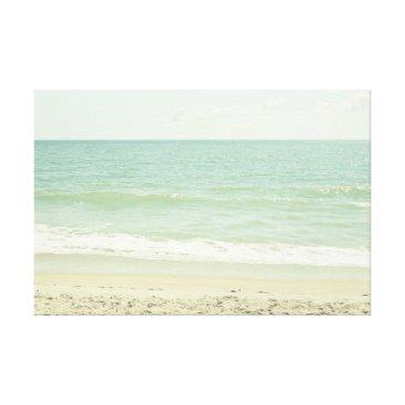 Beach Themed Mint Green Pastel Beach Photography Canvas Print