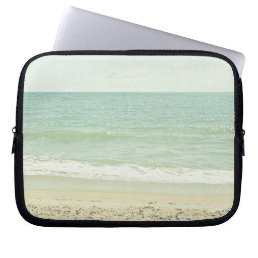 Mint Green Pastel Beach Photography Laptop Computer Sleeve
