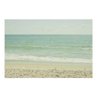 Mint Green Pastel Beach Photography Poster