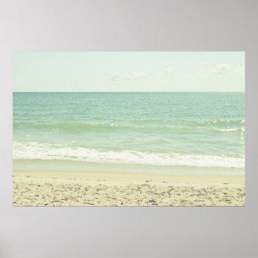 Beach Themed Mint Green Pastel Beach Photography Poster