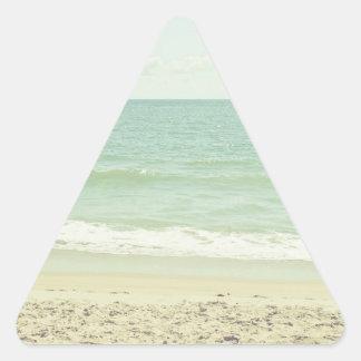 Mint Green Pastel Beach Photography Triangle Sticker