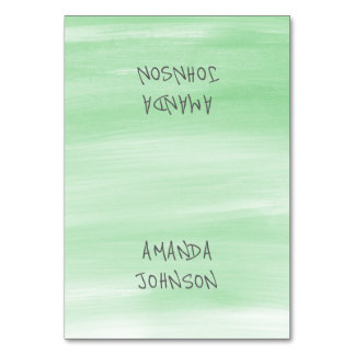 Mint Green Pastel Painted Personalized Name Event Card