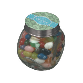 Mint Green pattern with Personalized Name Jelly Belly Candy Jar