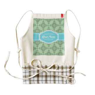 Mint Green pattern with Personalized Name Zazzle HEART Apron