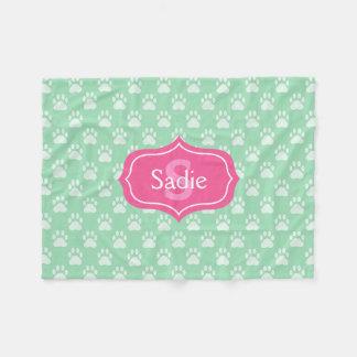 Mint Green Paw Prints And Pink Monogram & Name Fleece Blanket