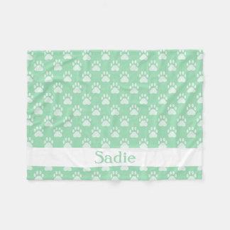 Mint Green Paw Prints Pattern With Custom Name Fleece Blanket