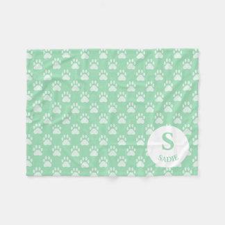 Mint Green Paw Prints Pattern With Monogram & Name Fleece Blanket