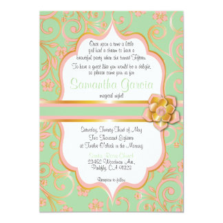 Mint Green, Peach and Gold Quinceañera Invite,  15 Card