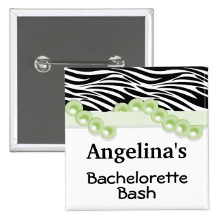 Mint Green Pearls And Ribbon Guest Party Favor Pinback Button