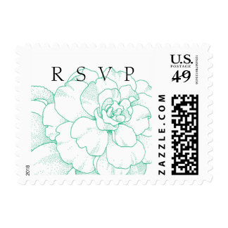 Mint Green Peony RSVP Postage Stamp