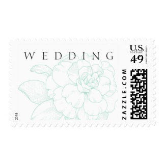 Mint Green Peony WEDDING Postage