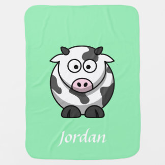 Mint Green Personalized Cow Blanket