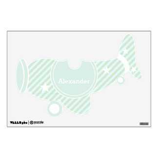 Mint Green Personalized Plane Baby Boy Toddler Wall Sticker