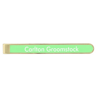 Mint Green Personalized Gold Finish Tie Clip