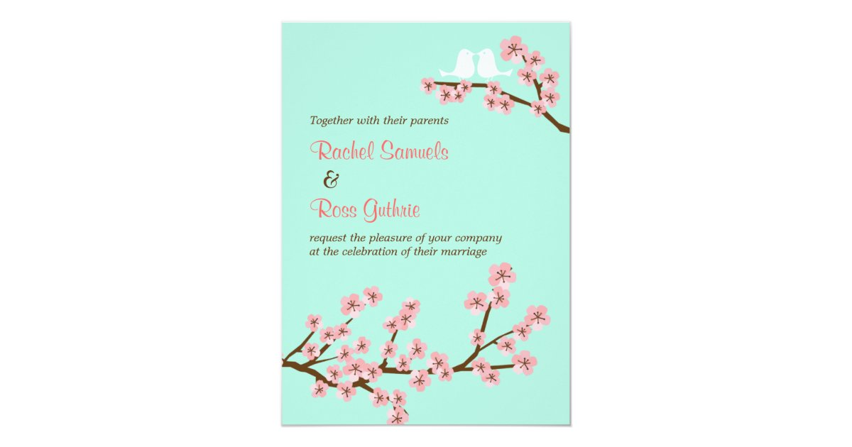 Mint Green & Pink Cherry Blossom Modern Wedding Card | Zazzle.com