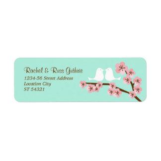 Mint Green & Pink Cherry Blossom Modern Wedding Label