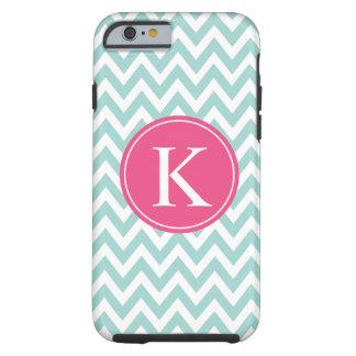Mint Green Pink Chevron Zigzag Monogram Pattern Tough iPhone 6 Case