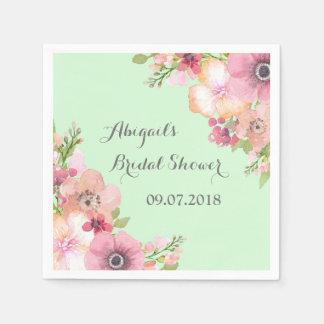 Mint Green Pink Floral Bridal Shower Napkins