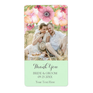 Mint Green Pink Floral Photo Wedding Label
