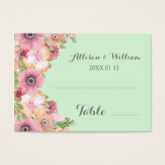 Mint Green Pink Floral Place Setting Cards at Zazzle