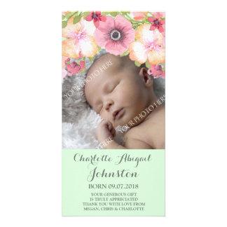 Mint Green Pink Flowers Thank You Shower Card