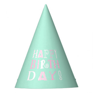 Mint green & pink funky Happy Birthday hat