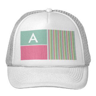 Mint Green & Pink Stripes Trucker Hats
