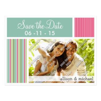 Mint Green & Pink Stripes Postcard