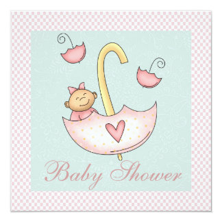 Mint Green Pink Umbrella Baby Girl Shower 5.25x5.25 Square Paper Invitation Card
