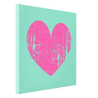 Mint green pink vintage heart wrapped canvas art