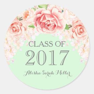 Mint Green Pink Watercolor Flowers Graduation 2017 Classic Round Sticker