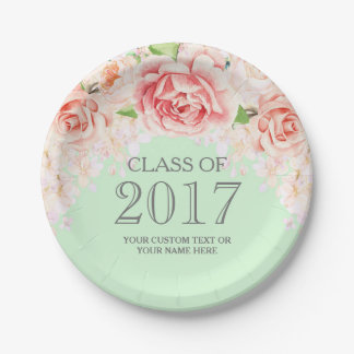Mint Green Pink Watercolor Flowers Graduation 2017 Paper Plate